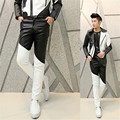 Winter Fleece Lined Sexy Black White  Tight Leather Pants Men Motorcycle Black Skinny Biker Trouser PU Leather Jogger For Men