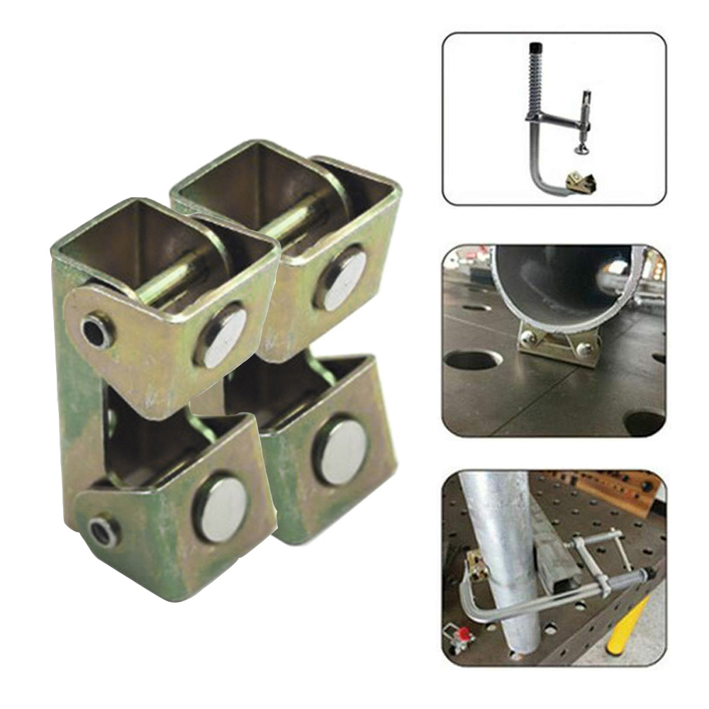 2PCS Small Magnetic V-type Clamp Welding Holder Welding Fixture Adjustable Magnet V-Pads Metal Working Tool Hand Tools Box B4