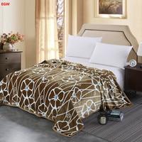 New fleece blanket brown geometric flannel bed sheet queen king full warm soft Winter throw gray deer leaf flower home textile