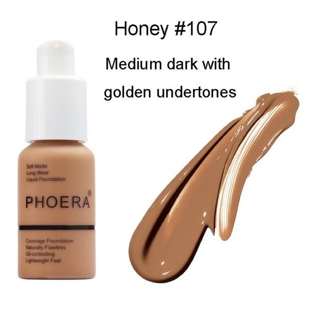 PHOERA Soft Matte Light Cream Long Lasting Liquid Face Foundation Makeup Coverage Foundation Natural Oil Control Maquiagem 4