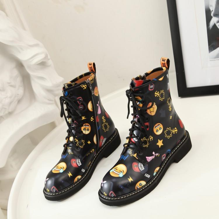 Autumn Emoji Pattern Decor Women Boots Front Lace Up Women Shoes Low Heel New Arrival Women Short Booties Roman Stylish Shoes цены онлайн