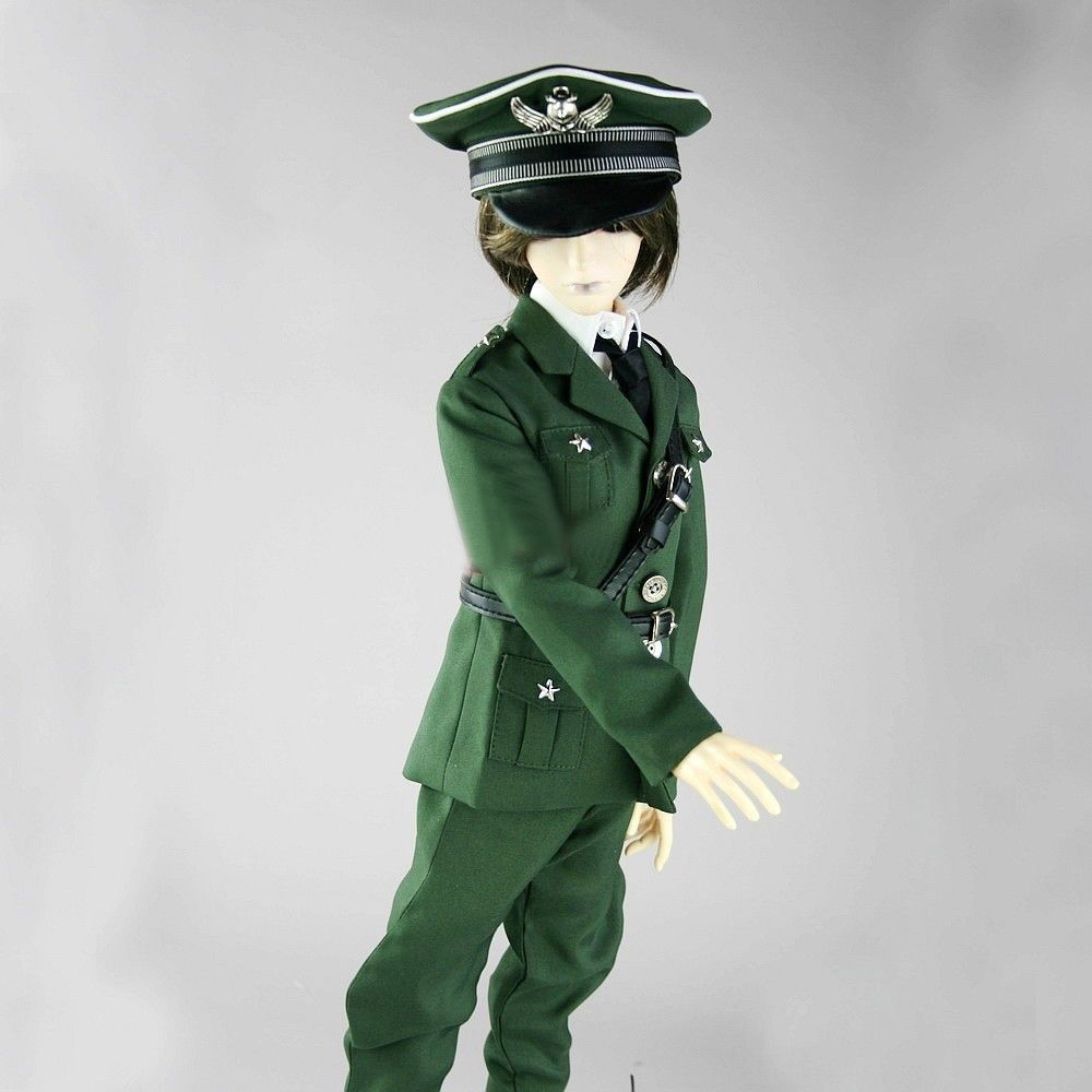 [wamami]501# Military Uniform Suit/Outfit for 1/4 MSD AOD LUTS BJD Dollfie [wamami] 12mm dark green for aod msd sd luts bjd doll dollfie glass eyes outfit