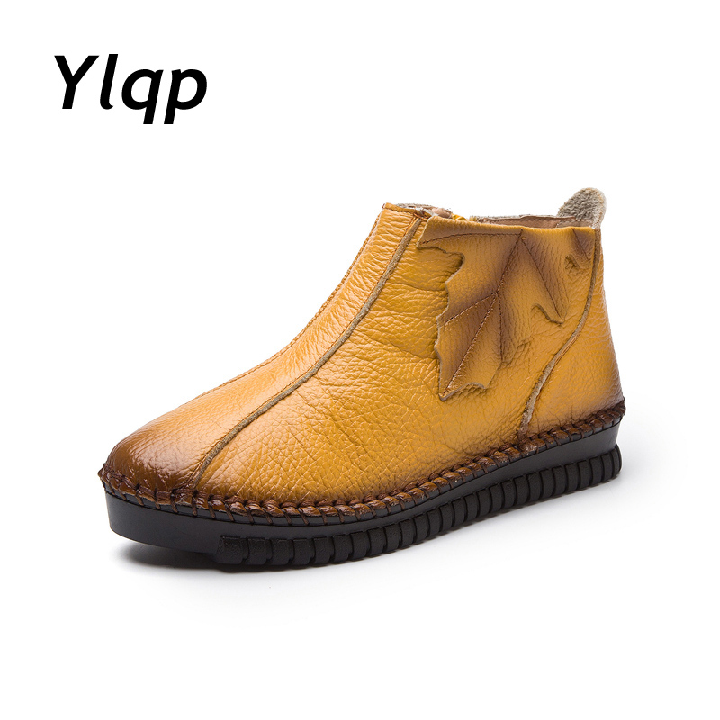 Hot Sale Ylqp 2019 Ladies Ankle Boots Genuine Leather Retro Handmade Women Shoes Flat Boots Footwear Women Flats Plus Size 41 42 43