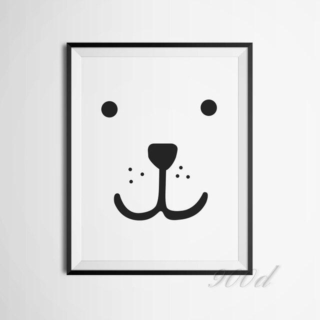 Мультфильм Медведь Лицо Печать на Холсте Плакат, Фотографии стены для Детская Комната Украшения, рамки не входит 335