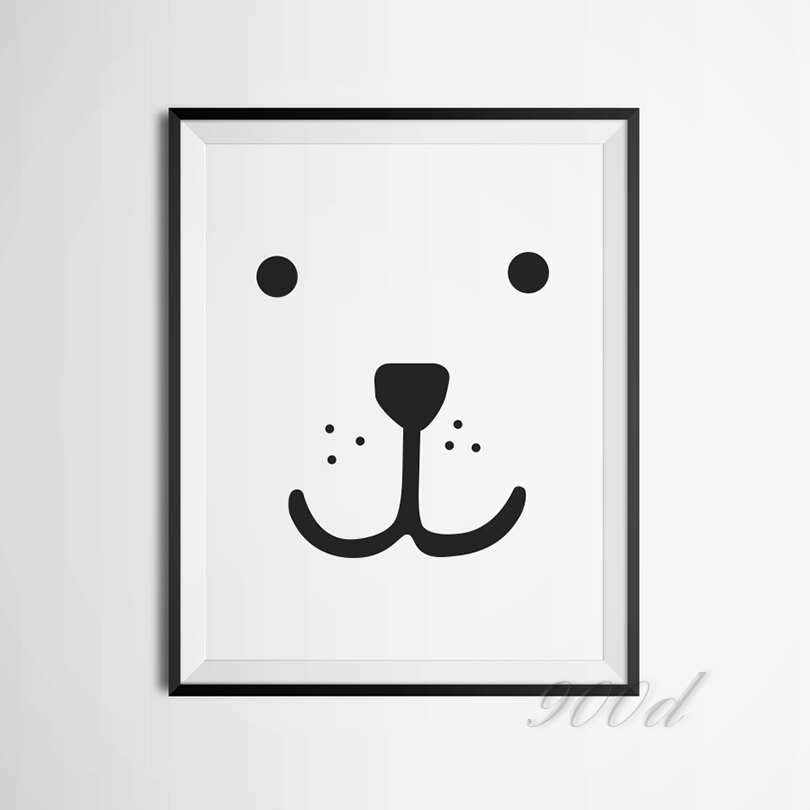 Oso de dibujos animados Cara Canvas Art Print Poster, Cuadros de la ...