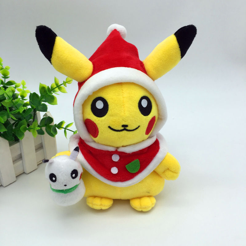 Kids Christmas Toy : Cute santa claus cosplay pikachu plush toys for children