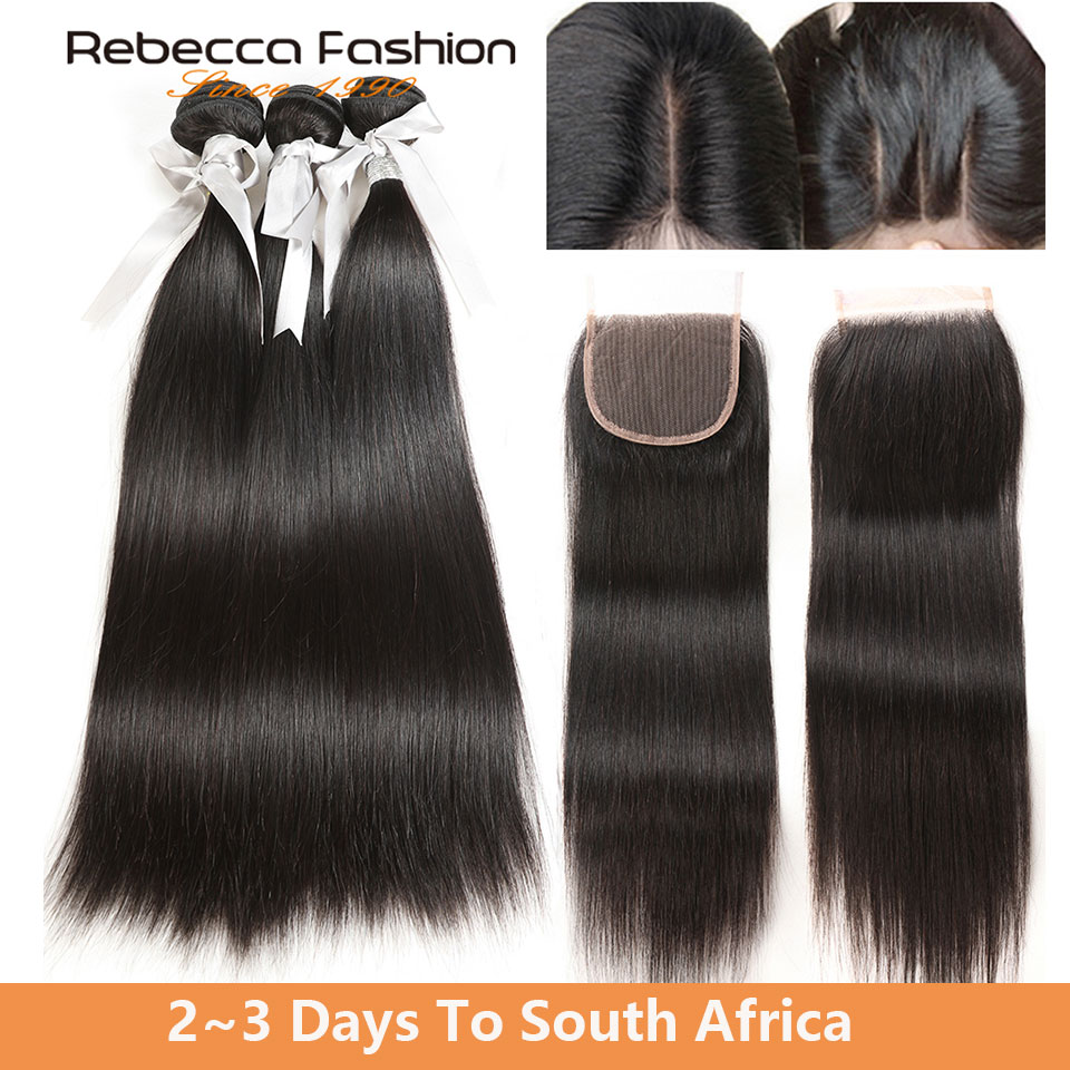Rebecca Malaysian Straight Hair 3 Bundles With Closure Non Remy Human Hair Weave 8 To 28