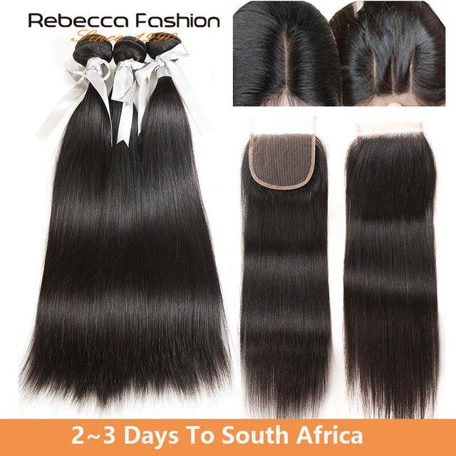 Rebecca малазийские прямые волосы 3 пучка с закрытием не Реми человеческие волосы плетение 8 до 28 30 дюймов пучки с 4x4 кружева закрытие