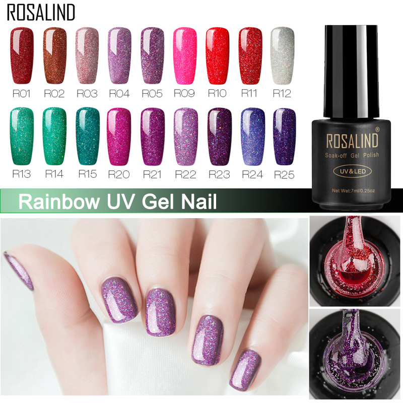ROSALIND Nail Polish Gel Nail Varnish Hybrid 7ML Rainbow Vernis Semi Permanant Nail Art Manicure For Nails Extension Gel Polish
