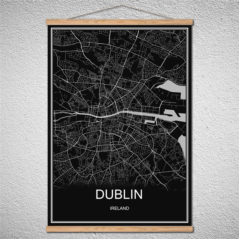 DUBLIN World City map Modern poster Canvas Birch scroll Reel Abstract print picture Oil Painting Decor Home With Frame