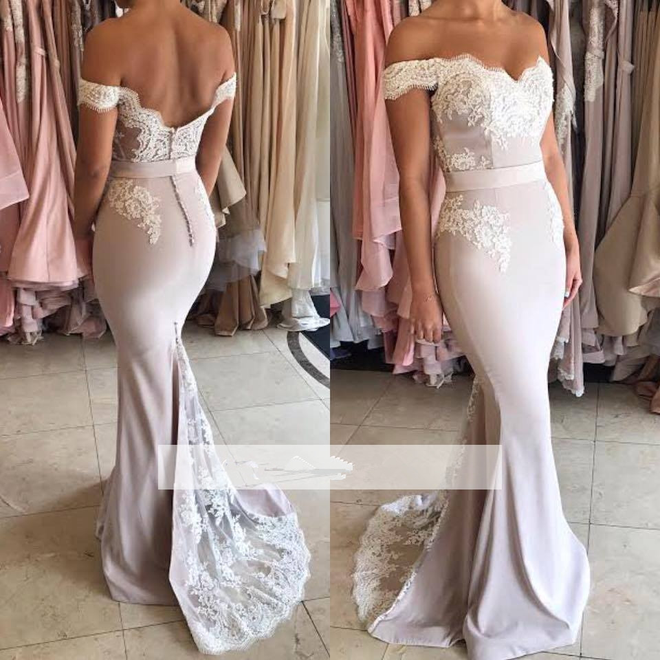 Backless Cheap Bridesmaid Dresses Under 50 Mermaid Off The Shoulder Lace Long Wedding Party Dresses For Women