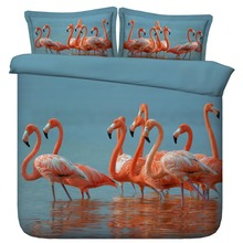 6 Parts Per Set Bed Sheet Set Summer time Beautiful colored Flamingos in water 3d Bed set