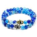 Natural Stone Evil Eye Bracelets For Women Men Silver Fatima Hand Bracelet Femme With Blue Agate Beaded Bracelet Turkish Jewelry