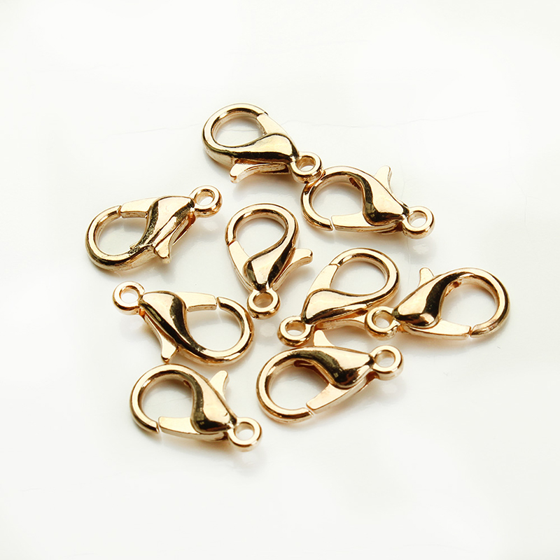 50Pcs set 10 12mm Lobster Swivel Clasp For Key Ring Necklace Chain Gold Bronze Silver Color Alloy Lobster Clasp Hook Wholesale in Jewelry Findings Components from Jewelry Accessories