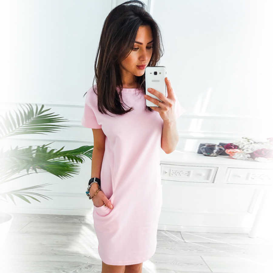 7f994f93245d Women O-neck Short Sleeve Dress Loose Straight Fashion Pockets Elegant Solid  Party Dresses Casual
