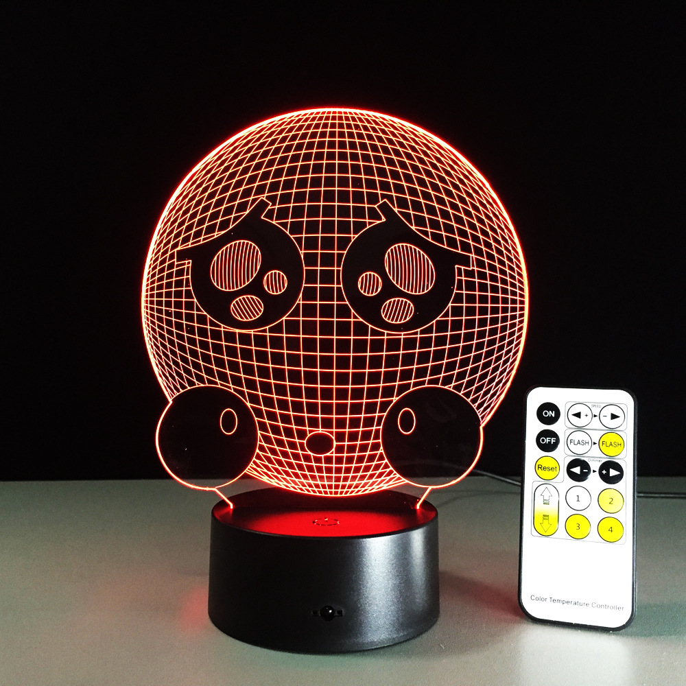 Remote Control Crying Face Cute 3D Night Light LED Vision Stereo Acrylic Panel Table Decoration 7 Color Change Bedroom Lamp