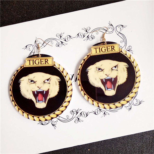 Hot sale exaggerated big hanging jewelry night club sexy vivid acrylic tiger head pendant earrings