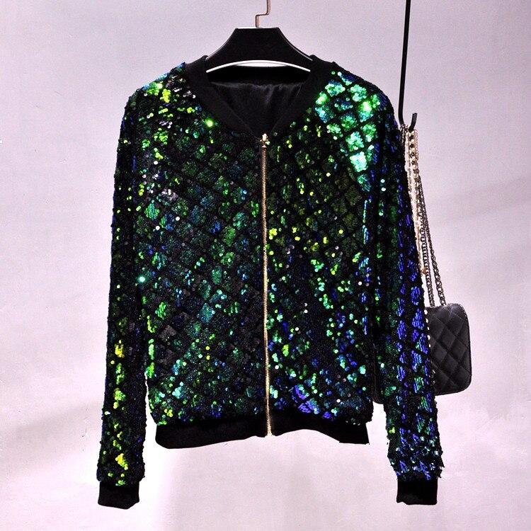 Manteau silver Bling Femelle Veste Couleurs gold Or Automne Baseball Vestes Casual Nouveau Lâche Outwear Paillettes Printemps 4 Vêtements black Green Femmes OZiPXTku