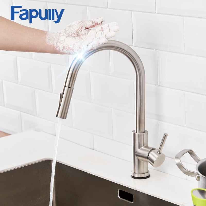 Fapully High Arc Brushed Nickel Touch Control Sensor Kitchen Faucet Pull Out Cock Mixer Down Smart