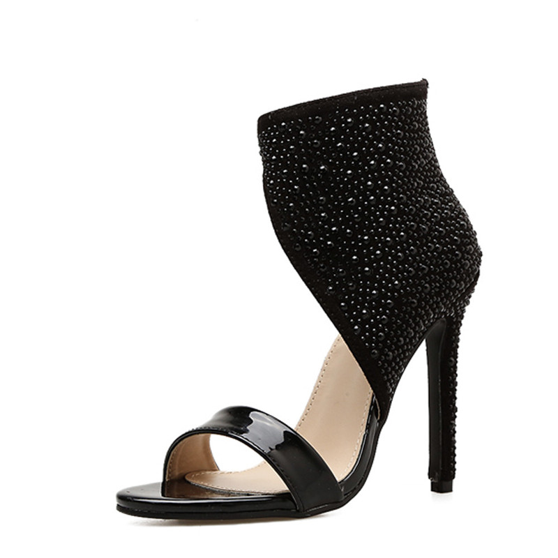 Women Fashion Open Toe Rhinestone Design High Heel Sandals Crystal Ankle Wrap Glitter Diamonds Plastic Short Boots Sexy Sandals