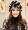Cuero hierba invierno 2016 mujeres de otoño e invierno sombrero femenino sombrero sombrero hecho punto ocasional de moda de lana Rex sombrero de invierno