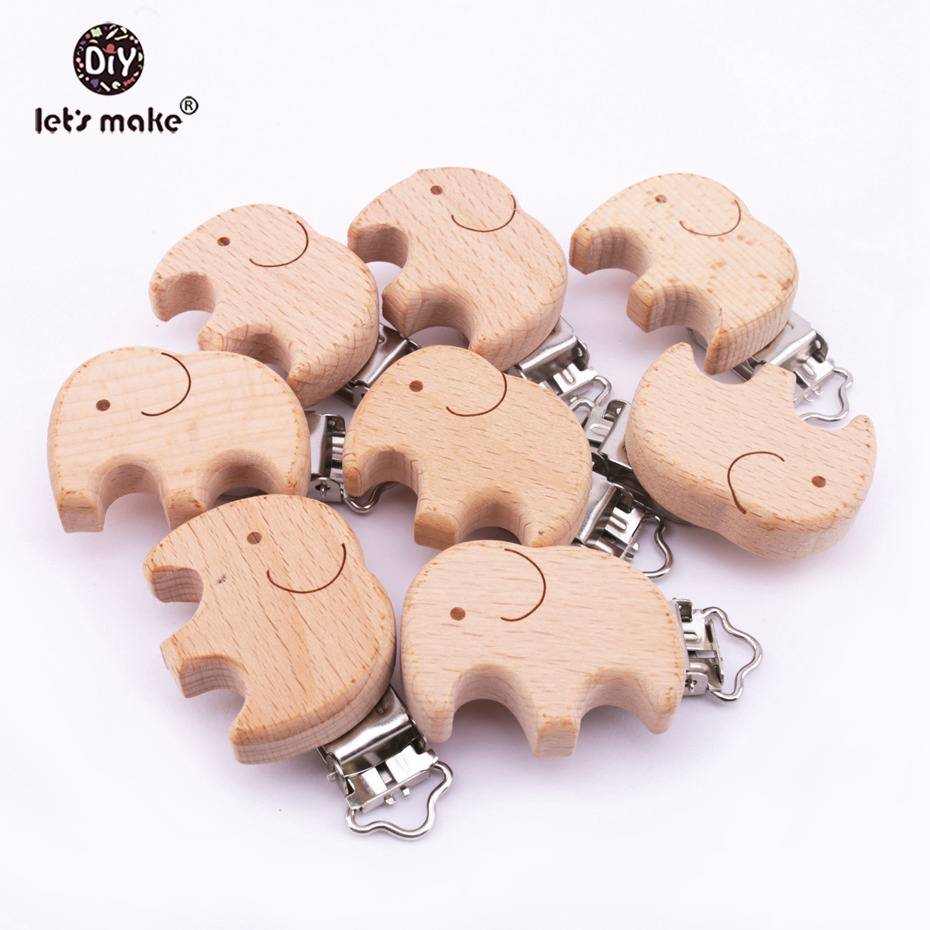 Lets make Dummy Clip Beech Wooden Teether Aniamls Elephant Baby Pacifier Holder Customizable Food Grade Wood Teething Teether