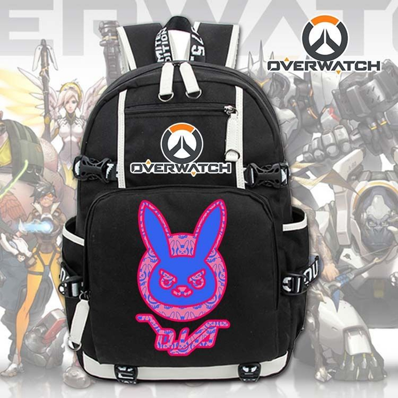 2017 New Game OW D.Va Genji Reaper Laptop Backpack Cosplay Cartoon School bags 17  College Students Bag Bookbag Travelbag high q cartoon rick and morty 2017 new arrival backpack students couple printing candy color leisure bags