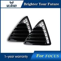 2pcs White LED Daytime Running Lights DRL For Ford Focus 2012 2013 2014 With Turn lights Front Fog lamp