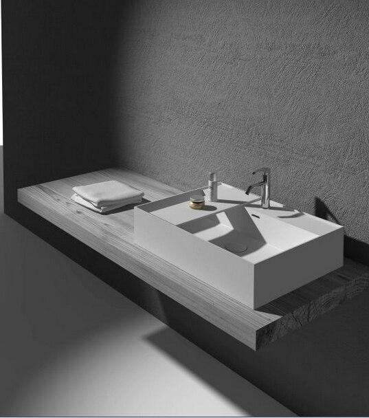 Salle de bains surface solide Mat Finition Lavage Pan Rectangulaire Ci-dessus Comptoir Main Évier Corain Vestiaire Lavabo RS38331-825