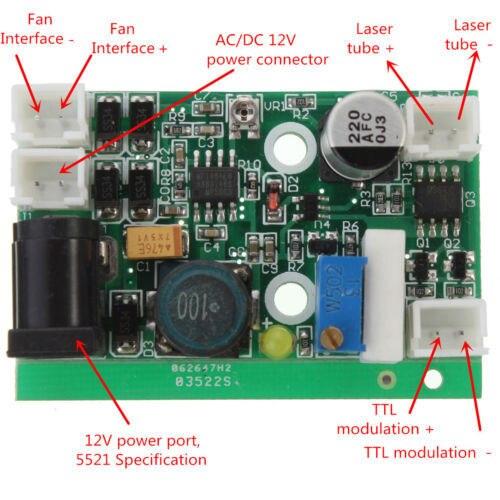 12 V TTL 1 Watt 2 Watt 3 Watt 445nm 450nm Laser Diode LD Treiber Stromversorgung Bühnenscheinwerfer freies