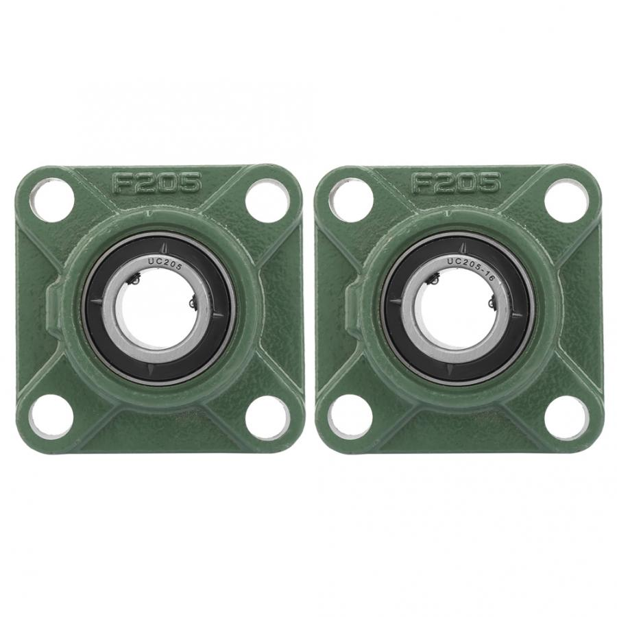 30mm/25.4mm UCF205/205-16 Pillow Block Square Bearing Flange Cartridge Bearing with Solid Base 4 Mounted Holes