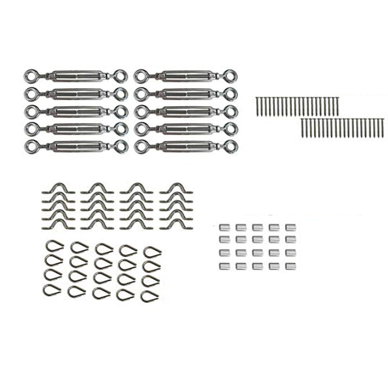 10 Pack Heavy Duty Stainless Steel Cable Railing Kits For Wood Posts DIY Balustrade Kit With Jaw Swage Fork Turnbuckle
