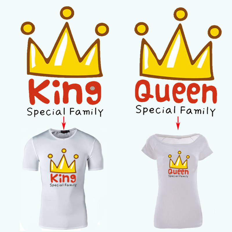 Crown Family Patches T Shirt Dresses Heat Transfer