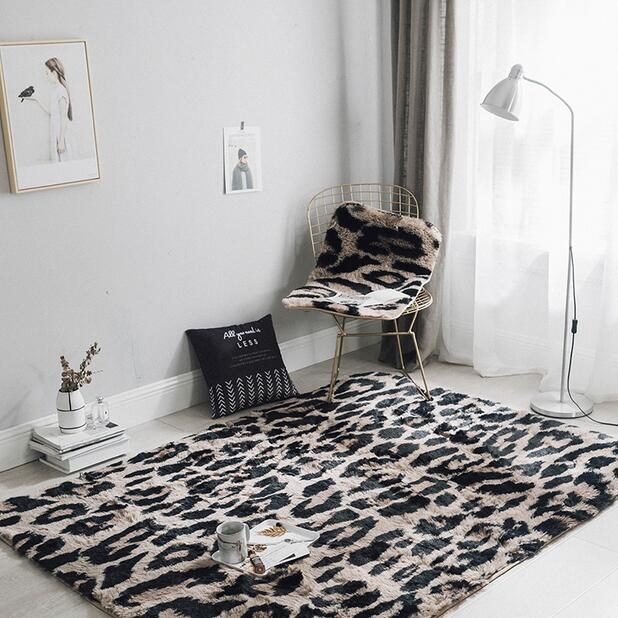 US $26.2 27% OFF|Shaggy Mink Cashmere carpet Leopard Print fluffy carpet  for Living Room Bedroom kids rug home mat non slip sofa tea table mat-in  Rug ...