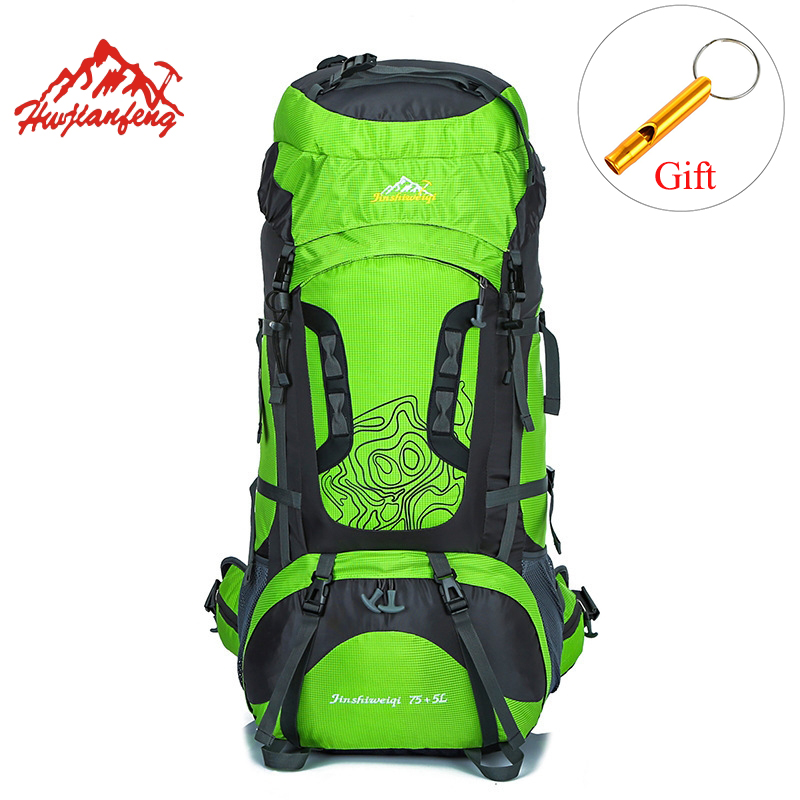 HU WAI JIAN FENG Outdoor Hiking Backpacks 80L Waterproof Sports Bags Travel Backpack Men Camping Hiking
