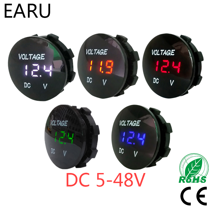 Round Waterproof Auto Boat Car Motorcycle DC5V-48V LED Panel Mini Digital Volt Voltage Meter Tester Monitor Display Voltmeter audio power capacitor 3 farad led light car stereo auto digital voltage meter display auto refit