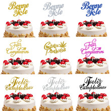 Cake Topper Bonne Fete French Russian Happy Birthday Spanish Feliz Cumpleanos Cake Flags Birthday Party Cake Decor Customised feliz feliz aburrimiento