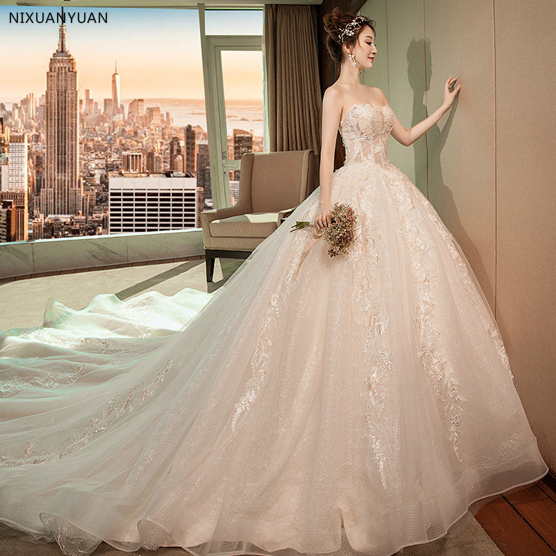 Sexy Backless Wedding Dresses 2020 Chapel Train Bridal Gowns White Ivory Satin Vestido Noiva Princesa
