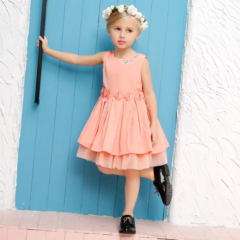 2016 Summer Style Children Pleated Princess Dress Girls Gauze Evening Dress Baby Flower Girl Party Dress Quality Kids Clothes