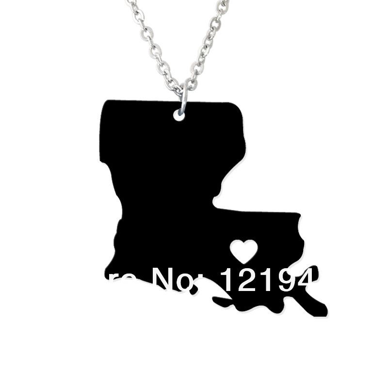 Personalized State Necklace - I heart Louisiana Necklace - Custom Map Pendant - Acrylic State Charm - Map necklace