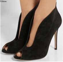 Olomm New Stylish Women Summer Ankle Boots Sexy Thin High Heels Boots Peep Toe Elegant Black Shoes Women Plus US Size 5-15 original intention super fashion women ankle boots 2017 beautiful thin heels high quality black shoes woman plus us size 4 15