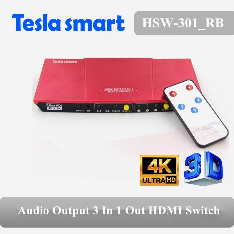Tesla smart le commutateur le plus rapide 3 en 1 sortie HDMI commutateur 3x1 avec prise en charge de la sortie Audio HDTV 1080 P 3D 4 K rouge