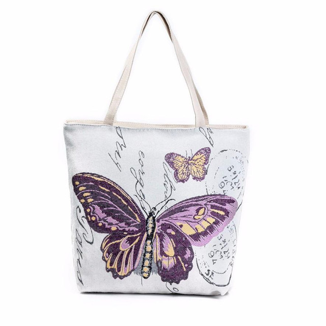 Butterfly Printed Canvas Tote Casual bucket Beach Bags Women ...