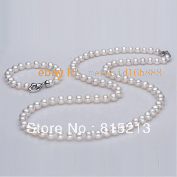 ddh0024 AAA 8-9mm Set White Akoya Cultured Pearls Necklace/Bracelets