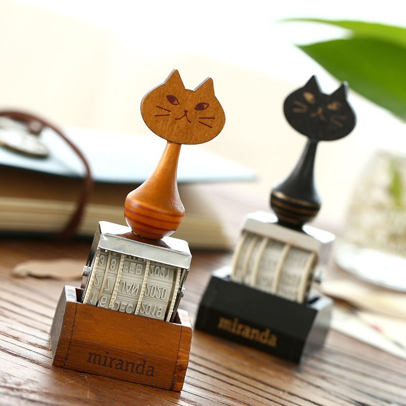 Cute Cat Wooden Roller Date Stamp DIY Scrapbook Photo Album Diary Rubber Seal For kids children diy lace frame transparent clear rubber stamp seal paper craft photo album diary scrapbooking paper card for wedding gift cc 79