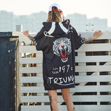 2018 Long Top Summer Streetwear Tiger Europe Fashion Street Female Loose Printing T-shirt Women Short Sleeve O-Neck Pullove
