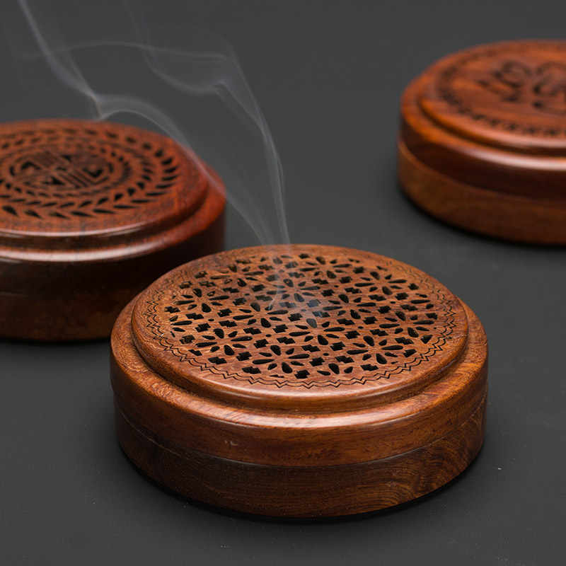 PINNY เวียดนาม Rosewood Incense Burner 2 และ 4 ชั่วโมง Coil Censer Tea House และบ้านตกแต่งไม้ฐานธูปไม้งานฝีมือ