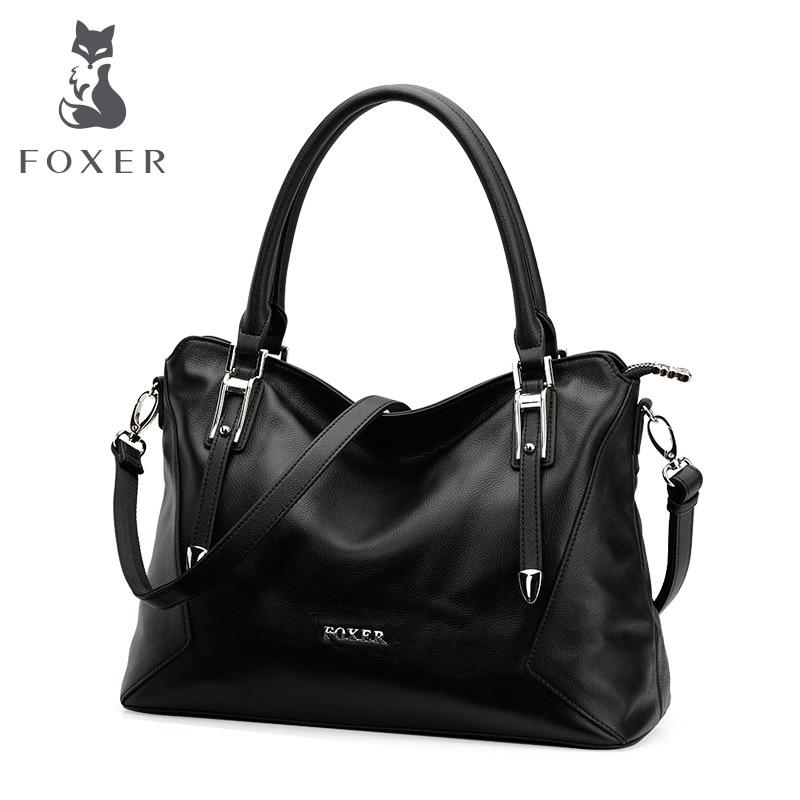 FOXER 여성 정품 가죽 핸드백 여성 소프트 어깨 가방 쇠가죽 채찍 자루 가방 패션 토트 또는 여성