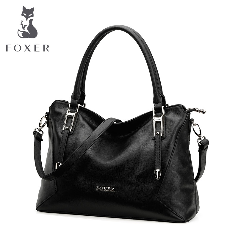 FOXER Women Genuine Leather Handbag Female Soft Shoulder Bag Cowhide Satchels Bags Fashion Tote or Women foxer women s genuine leather bag fashion color portable cowhide shoulder bag women handbag female bags