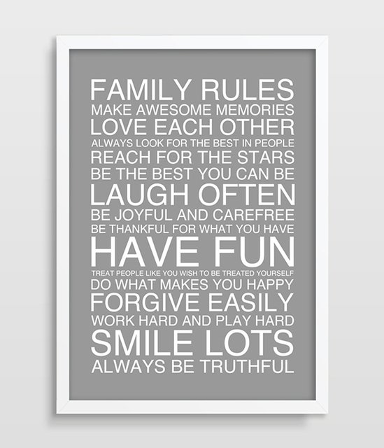 Famille règles affiche famille Art imprimer Nursery Art lecture Home ...